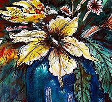 Hibiscus in Blue Vase by Angela Gannicott