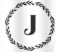 Monogram Wreath - J Poster