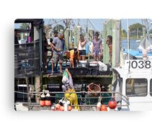 Selling the days catch at Point Judith, RI [8] Metal Print