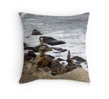 The Rocky Shore At Point Judith, RI Lighthouse [9] Throw Pillow