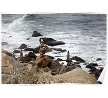The Rocky Shore At Point Judith, RI Lighthouse [9] Poster