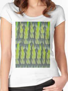 texture and background of colorful feathers of a parrot green Women's Fitted Scoop T-Shirt