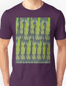 texture and background of colorful feathers of a parrot green T-Shirt