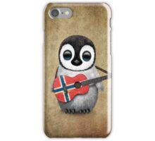 Baby Penguin Playing Norwegian Flag Guitar iPhone Case/Skin