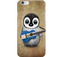 Baby Penguin Playing El Salvador Flag Guitar iPhone Case/Skin