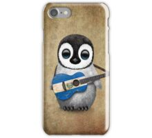 Baby Penguin Playing El Salvador Flag Guitar iPhone Case/Skin
