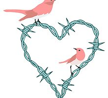 Barbed Wire Heart Birds by pounddesigns