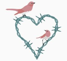 Barbed Wire Heart Birds Baby Tee