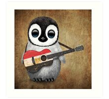 Baby Penguin Playing Egyptian Flag Guitar Art Print