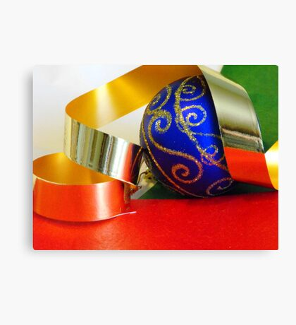 Blue Ball and Ribbon Canvas Print