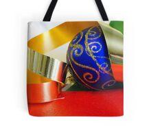 Blue Ball and Ribbon Tote Bag