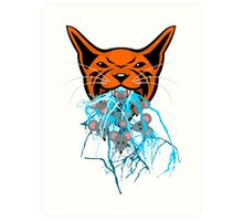 Cat Barf Mouse Heads Art Print