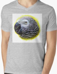 African grey parrot realistic painting Mens V-Neck T-Shirt