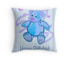 Blue Baby Bear Happy Birthday card Throw Pillow