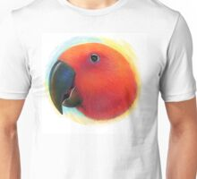 Red female eclectus parrot realistic painting Unisex T-Shirt