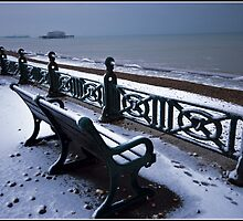 West Pier in Winter Snow by Nicole Carman Photography