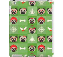 Christmas Pugs on Green Background iPad Case/Skin