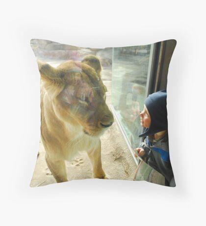 Cayden vs. Lion Throw Pillow
