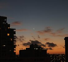 As night falls on downtown Honolulu..... by DonnaMoore