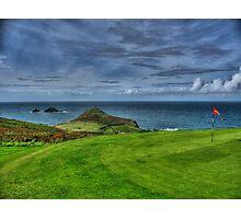 1st Green at Cape Cornwall Golf Club Photographic Print