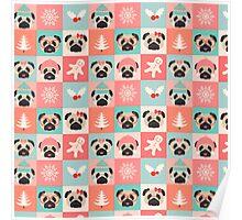 Christmas Pugs - Pastel  Poster