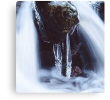 Icicles in a cascade Canvas Print