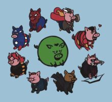 Pig Avengers by A Girl of  Many Fandoms
