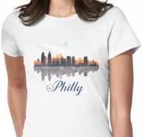 Philadelphia Skyline, Pennsylvania, Watercolor Womens Fitted T-Shirt