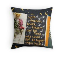 Freedom, Books, Flowers, and the Moon Throw Pillow