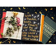 Freedom, Books, Flowers, and the Moon Photographic Print