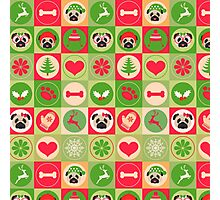 Super Cute Christmas Pug - Green, Red, Background Photographic Print