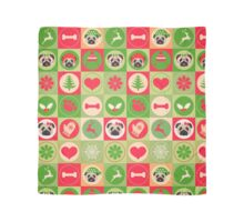 Super Cute Christmas Pug - Green, Red, Background Scarf