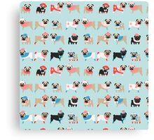 Super Cute Christmas Pugs on Light Blue Background Canvas Print