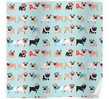 Super Cute Christmas Pugs on Light Blue Background Poster