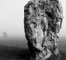 Avebury stone in mist by EllensEye