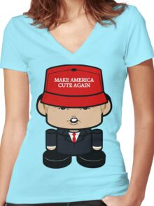 Donald Trump Politico'bot Toy Robot 3.0 Women's Fitted V-Neck T-Shirt