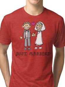 "Wedding Day ""Just Married"" Tri-blend T-Shirt"
