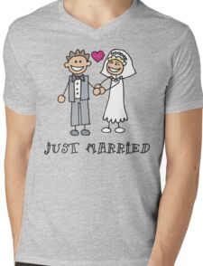 "Wedding Day ""Just Married"" Mens V-Neck T-Shirt"