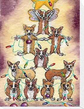 Corgi dogs make up a fur tree for Christmas by SusanAlisonArt