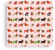 Christmas Pugs on Pink Background  Canvas Print