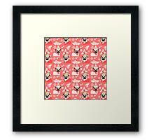 Holiday Pugs on Pink Background 2 Framed Print
