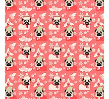 Holiday Pugs on Pink Background 2 Photographic Print