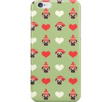 Holiday Pugs and Hearts - Soft Green Background  iPhone Case/Skin