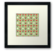 Holiday Pugs and Hearts - Soft Green Background  Framed Print