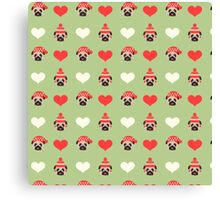 Holiday Pugs and Hearts - Soft Green Background  Canvas Print
