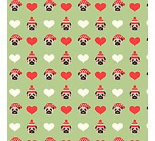 Holiday Pugs and Hearts - Soft Green Background  Photographic Print