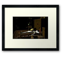Err, 'scuse me, Doctor. Should the cat be sitting on the corpse like that? Framed Print