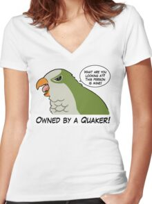 Owned by a green quaker Women's Fitted V-Neck T-Shirt
