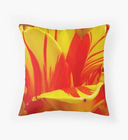 Flamed Tulip Petals Throw Pillow