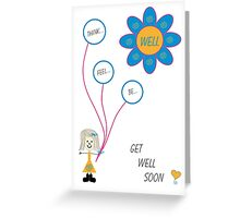 """Get Well Soon"" Mazzy with blue balloons Greeting Card"